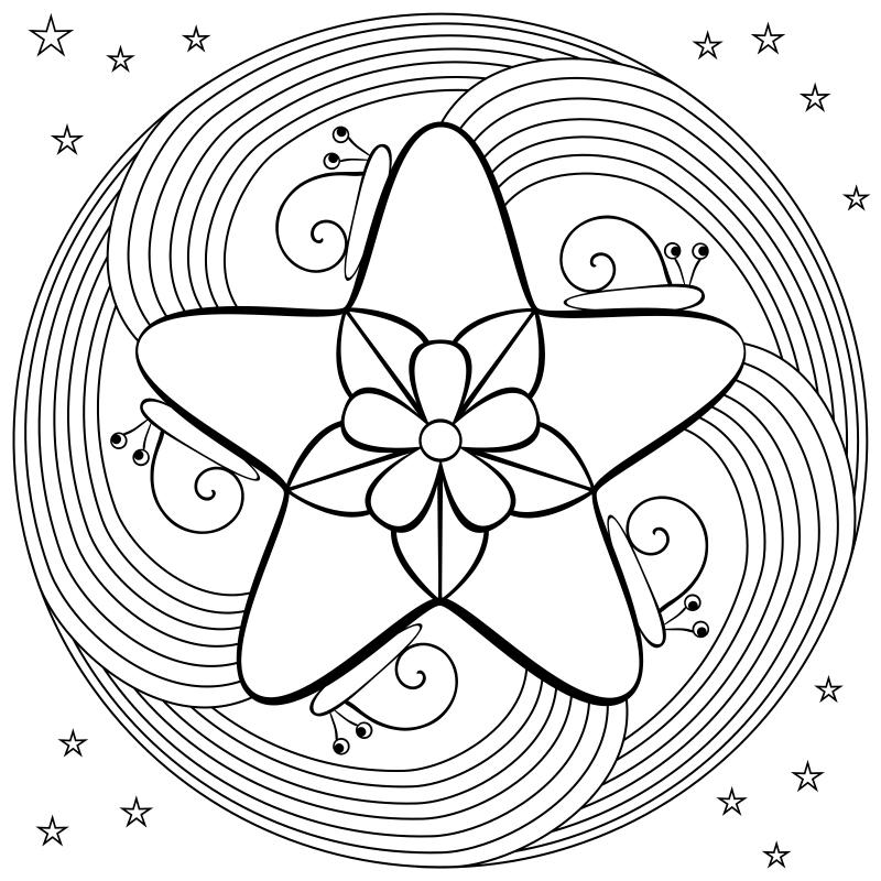 Star and Swirls Mandala Coloring Page