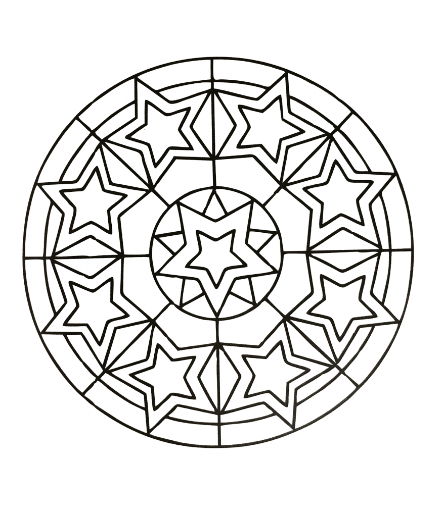 Stars Mandala Coloring Page