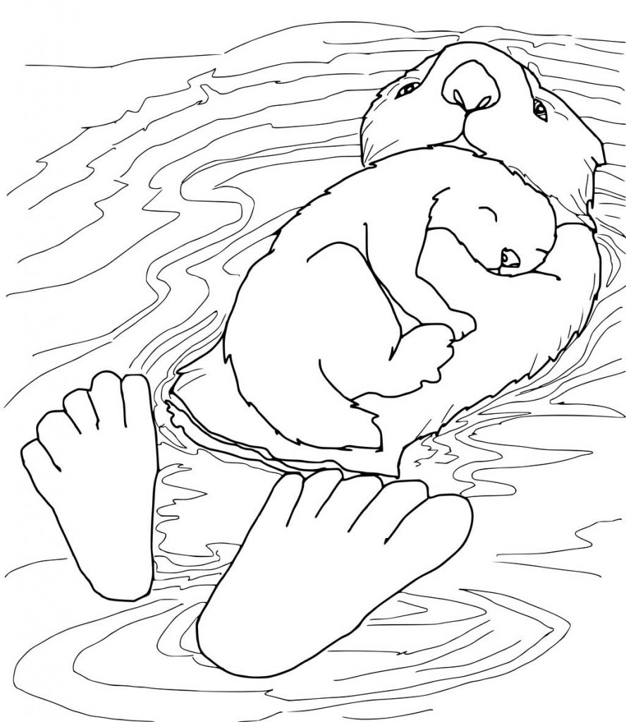 Sweet Otters Coloring Page