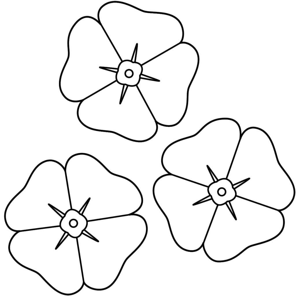 Three Poppies Coloring Page
