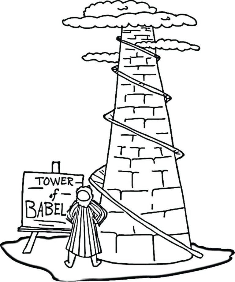 Tower Of Babel Bible Story Coloring Page