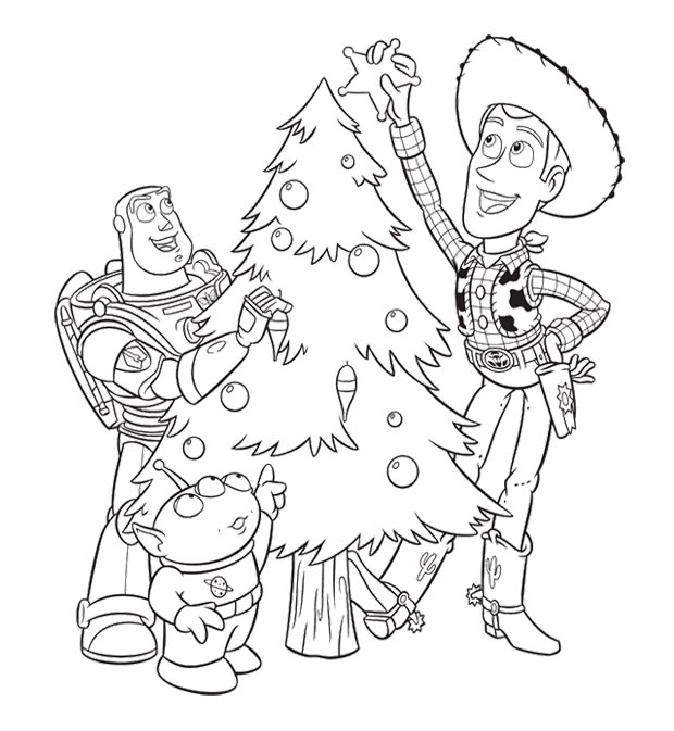 Toy Story Christmas - Woody Coloring Pages