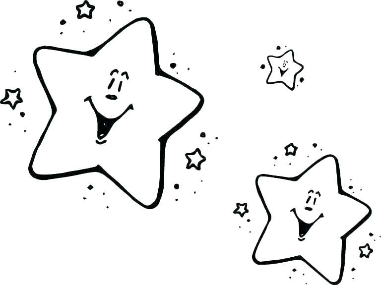 Two Happy Stars Coloring Page