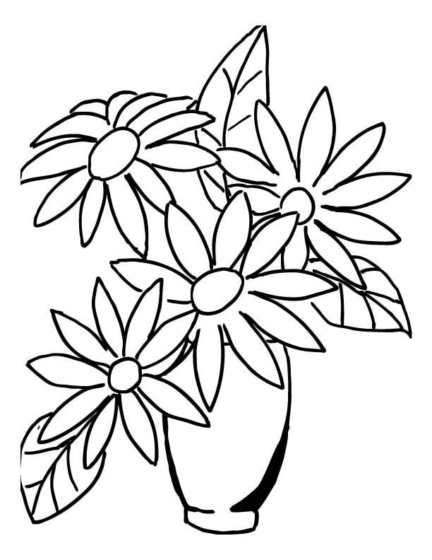 Vase of Daisy Flowers Coloring Page