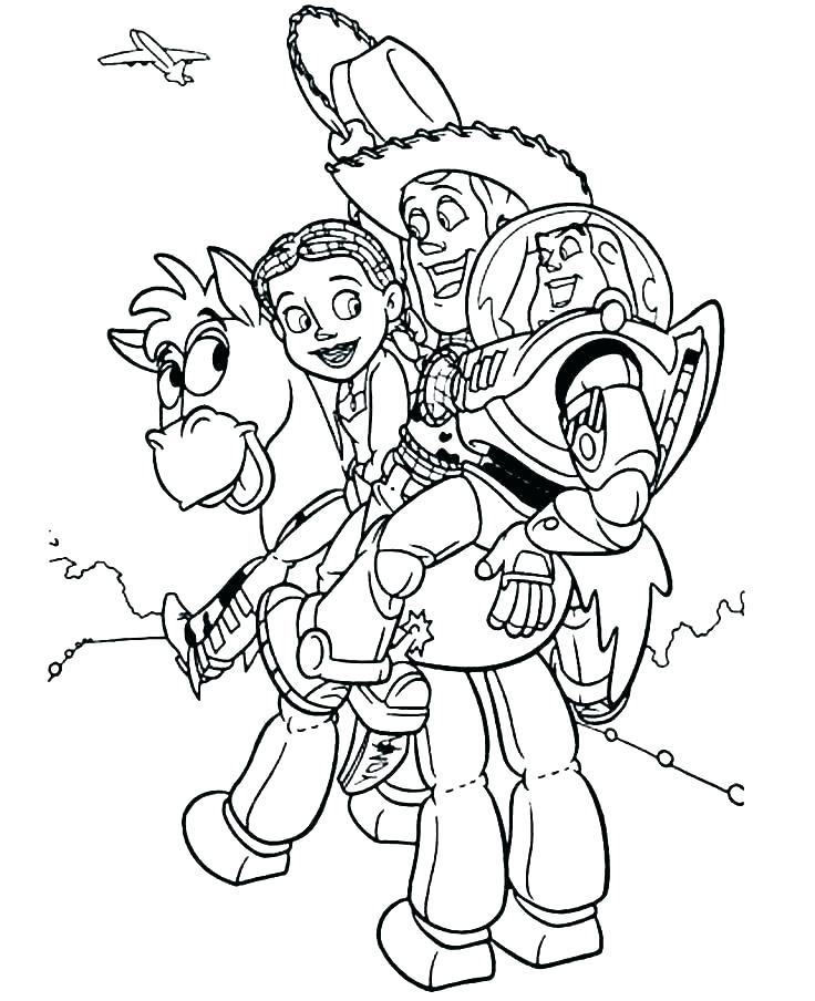 Woody Jessie and Buzz Riding Bullseye