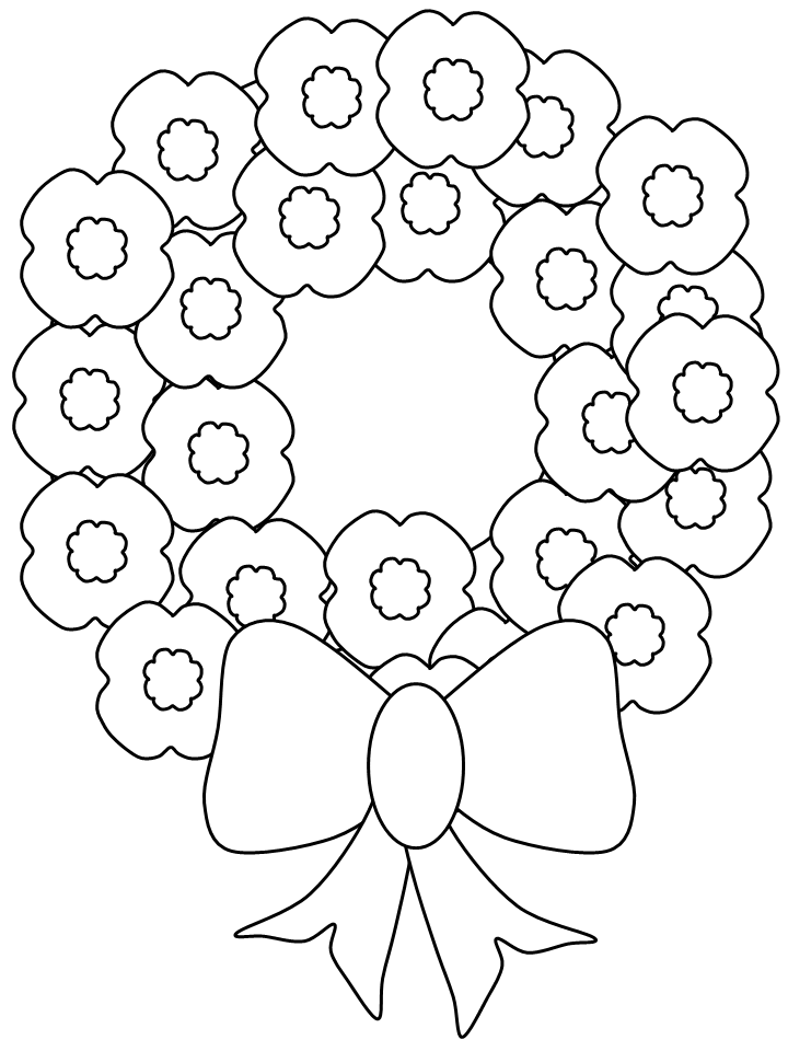 Wreath of Poppies Coloring Page