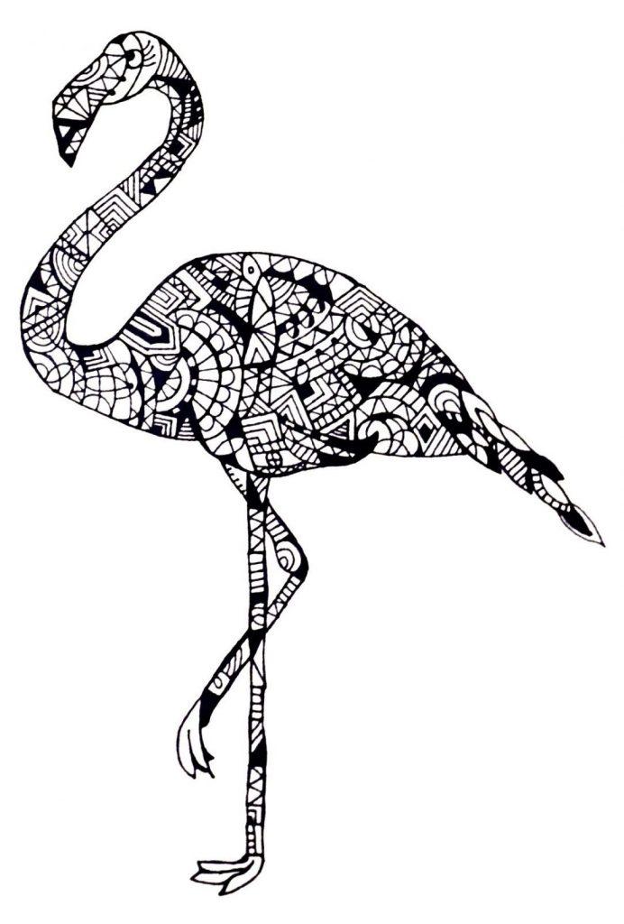 Zen Flamingo Coloring Page