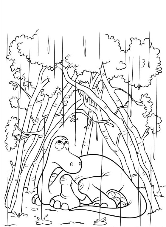 Arlo In The Rain Good Dinosaur Coloring Pages