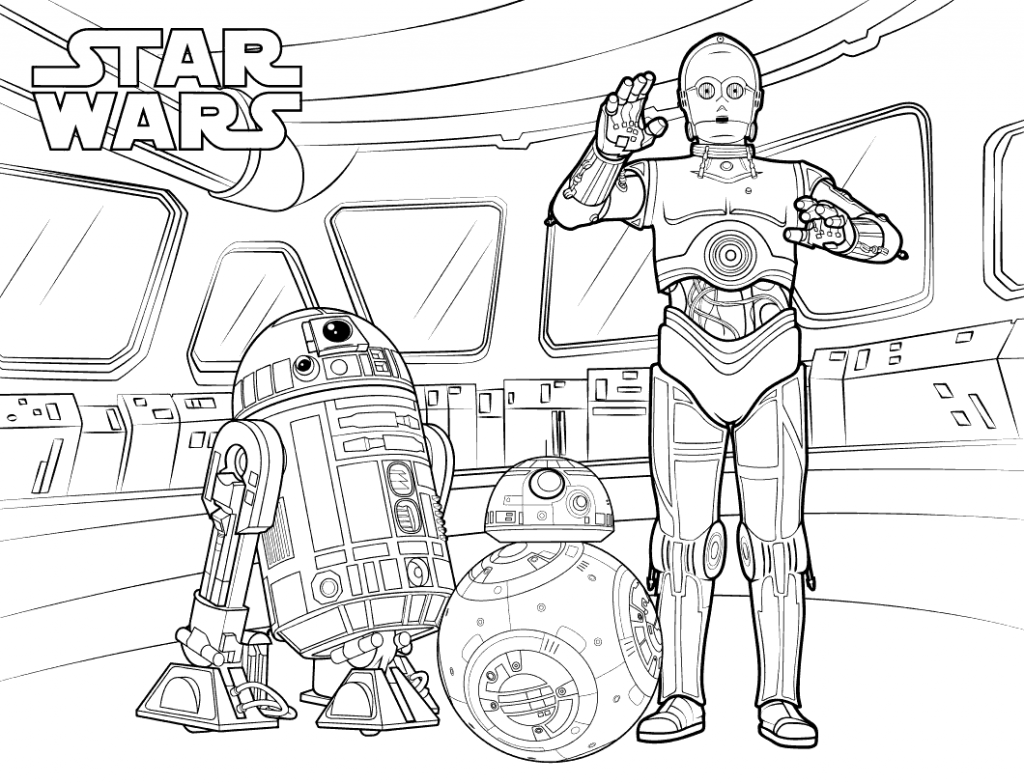 Bb8 R2d2 And C3po Coloring Page