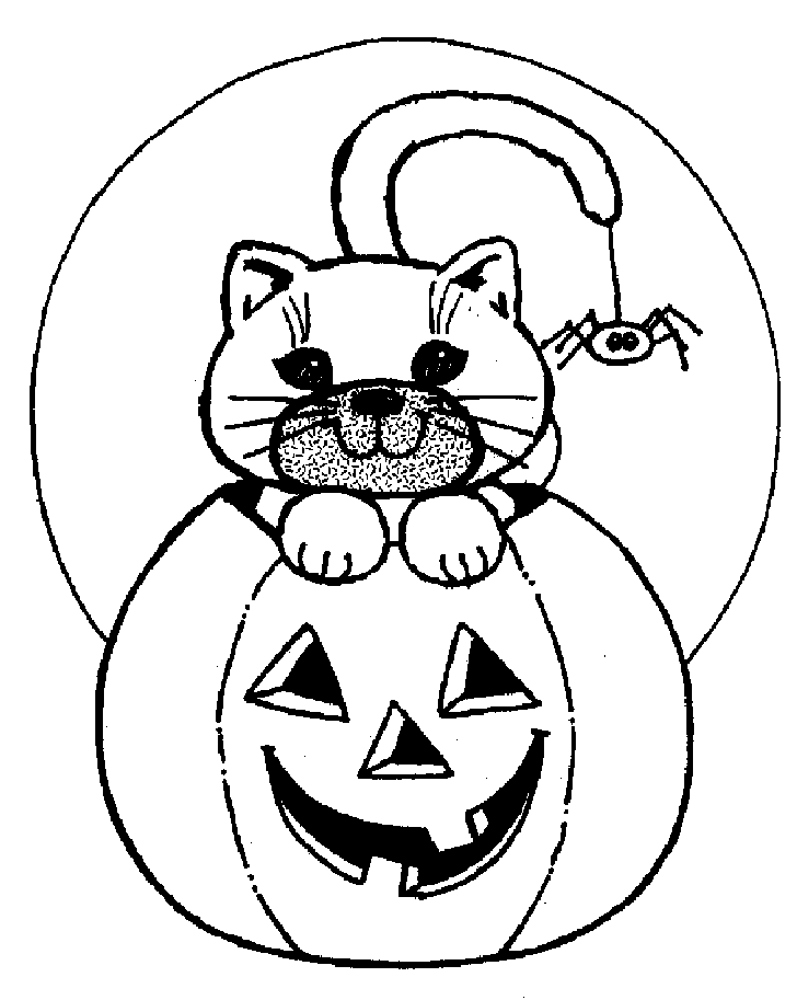 Carved Halloween Pumpkin And Cat Coloring Pages