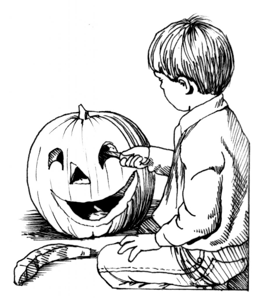 Carving Pumpkin For Halloween Coloring Page