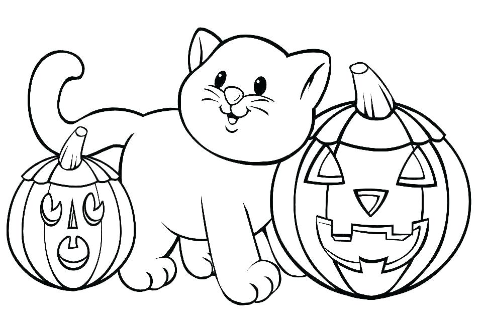 Cat And Halloween Pumpkins Coloring Pages