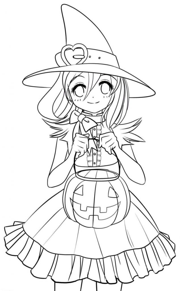 Cute Anime Halloween Coloring Pages