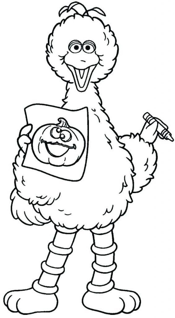 Cute Big Bird And Pumpkin Halloween Coloring Page