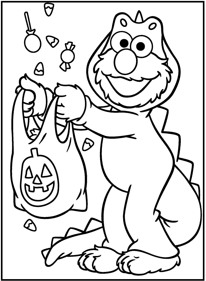 Cute Elmo Halloween Coloring Pages