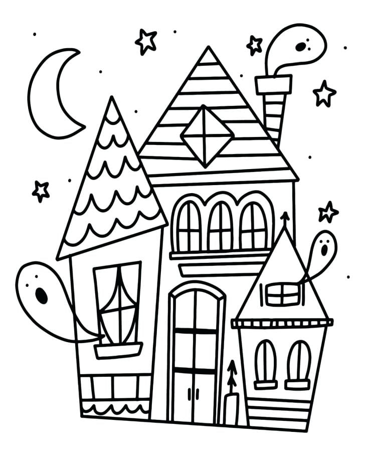 Cute Haunted House Halloween Coloring Pages