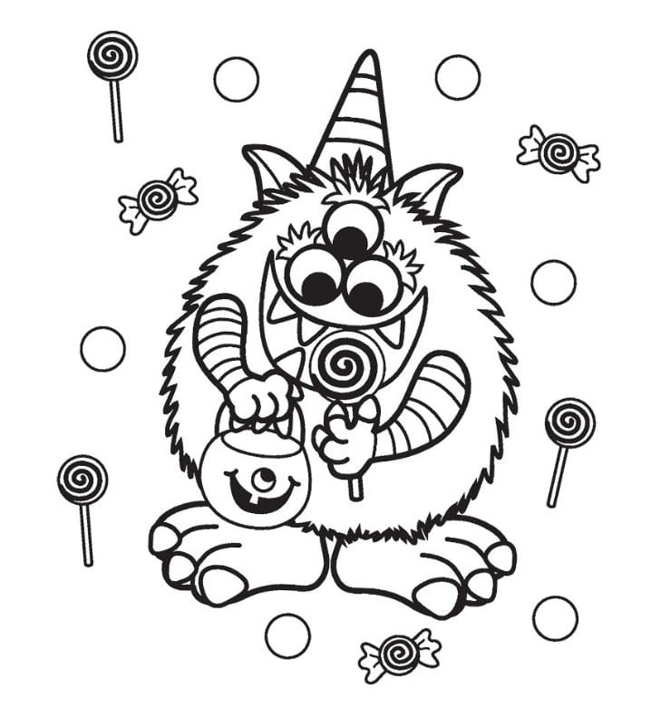 Cute Monster Halloween Coloring Page