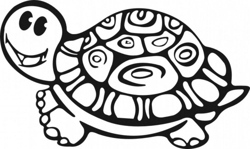 Cute Turtle Reptile Coloring Page