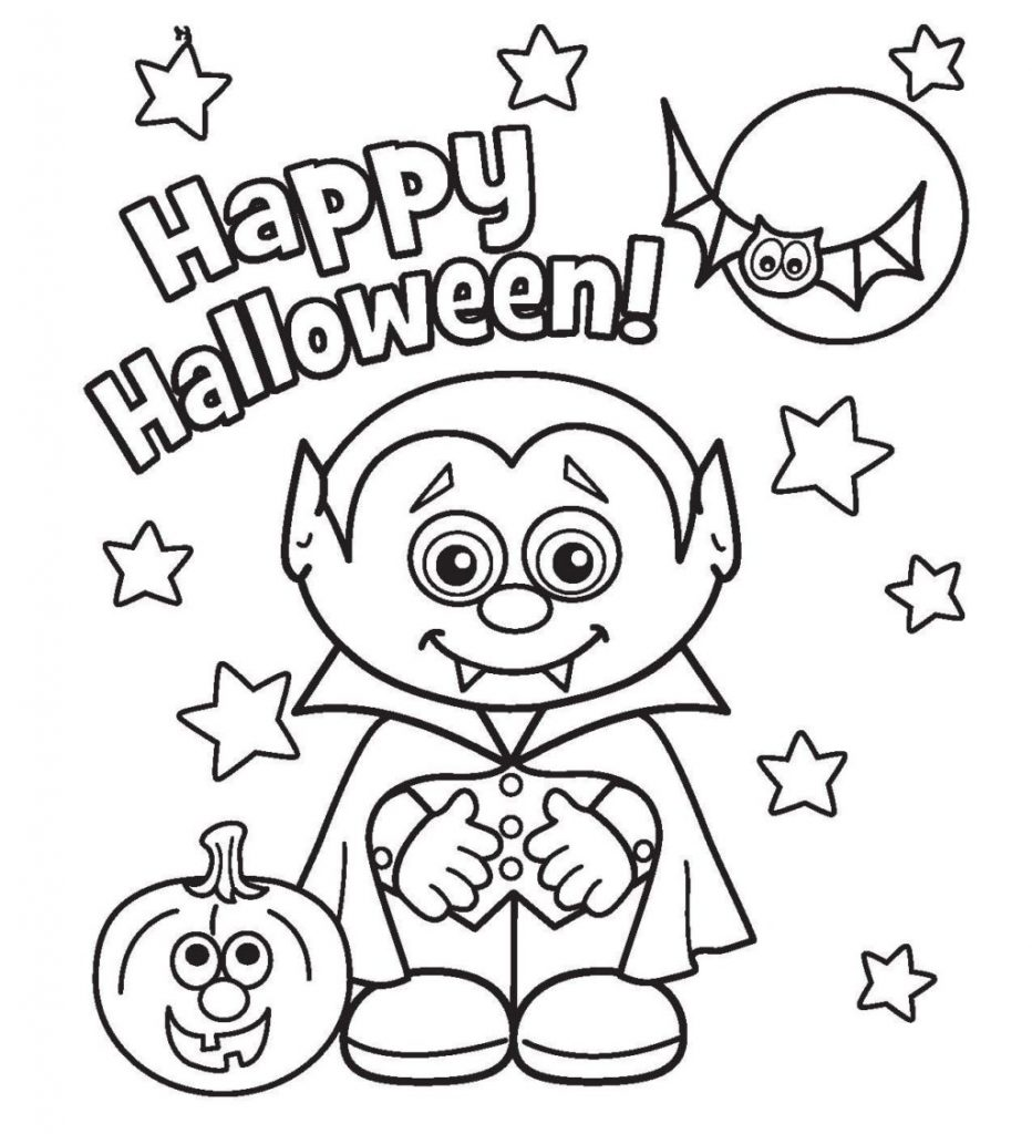 Cute Vampire Happy Halloween Coloring Page