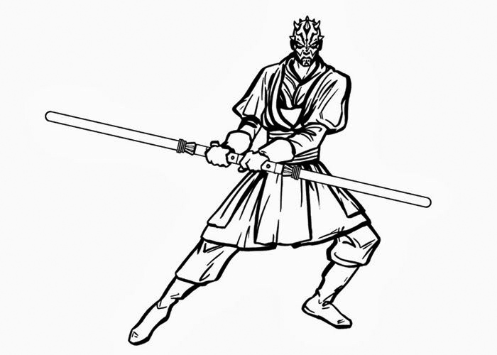 Darth Maul Fighting Coloring Pages