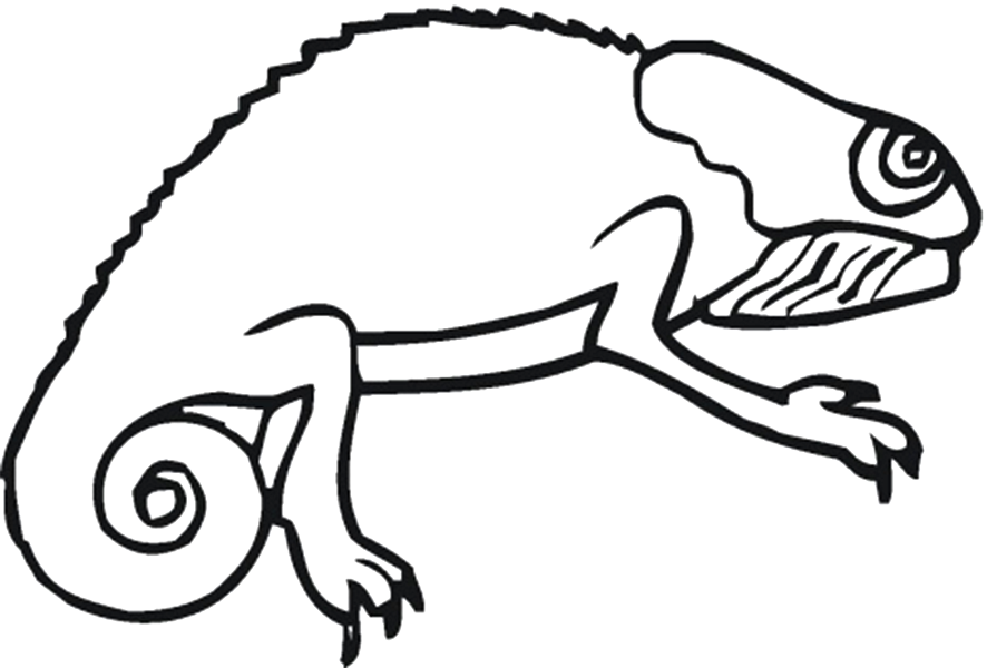Easy Chameleon Reptile Coloring Page