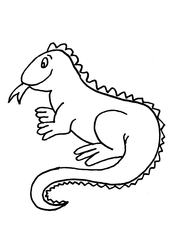 Easy Iguana Reptile Coloring Page