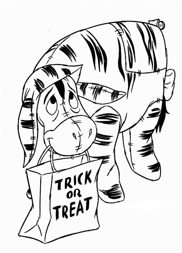 Eeyore Trick Or Treating Halloween Coloring Page