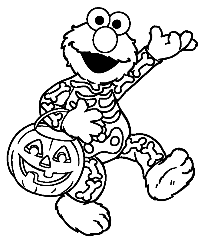 Elmos Cute Halloween Coloring Pages