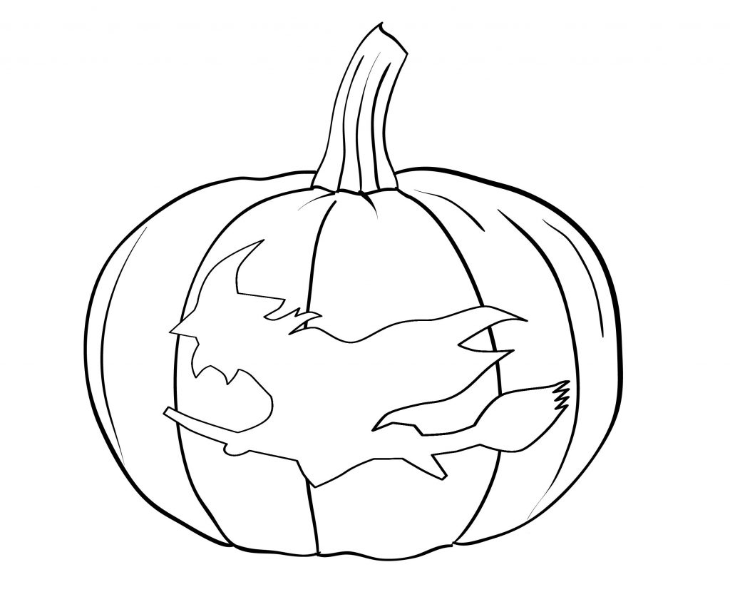 Halloween Pumpkin Carved With A Witch Coloring Pages
