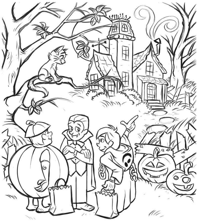 Happy Halloween Night Coloring Pages