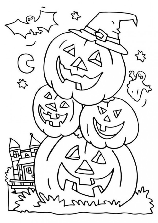 Happy Halloween Stacked Pumpkins Coloring Pages
