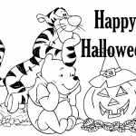 Happy Halloween Tigger And Pooh Coloring Page
