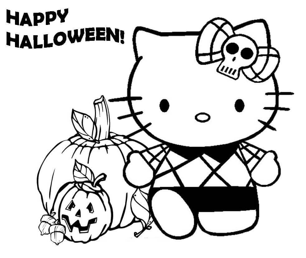 Hello Kitty Happy Halloween Coloring Page