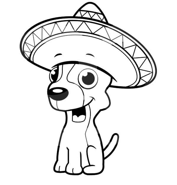 Mexican Hat Puppy Coloring Page