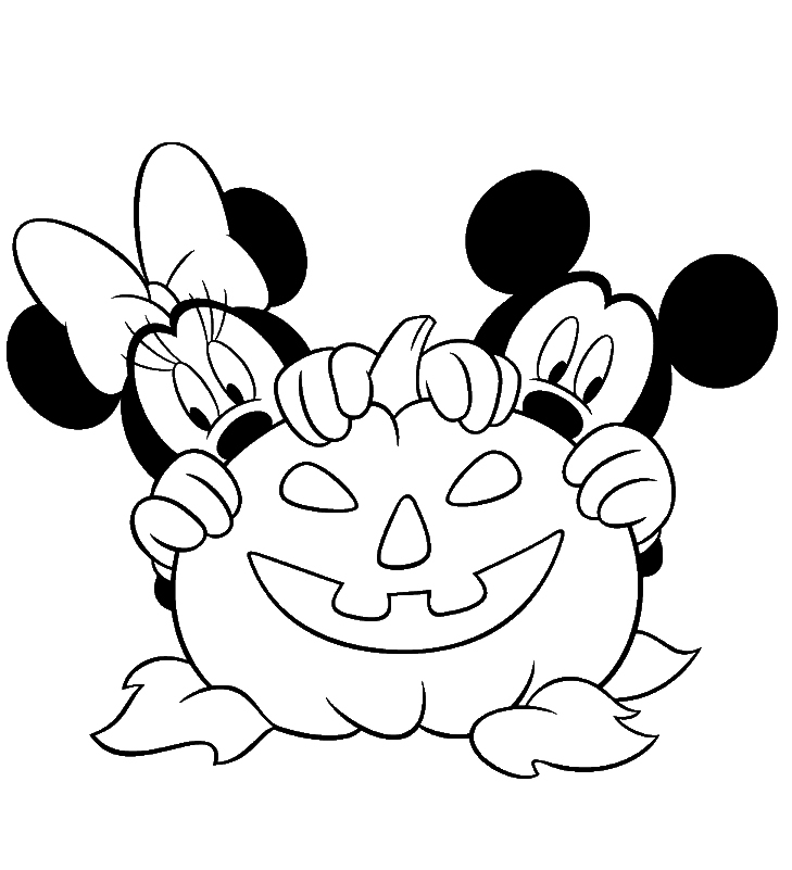 Mickey And Minnie Halloween Coloring Pages