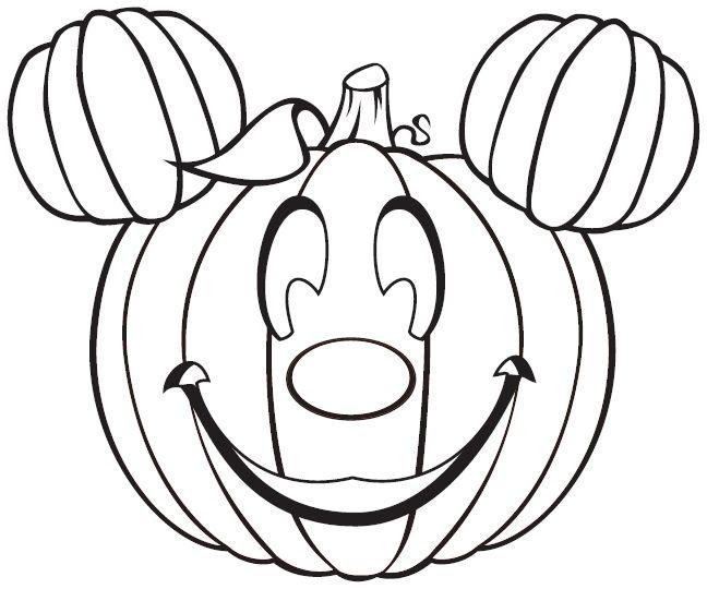 Micky Mouse Jackolantern Coloring Page