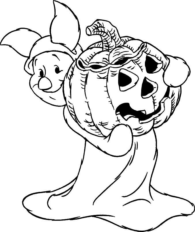 Piglet In Halloween Costume Coloring Page