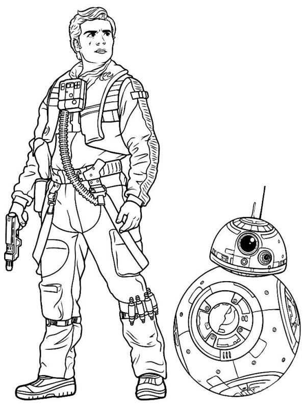 Poe And Bb8 Star Wars Coloring Page