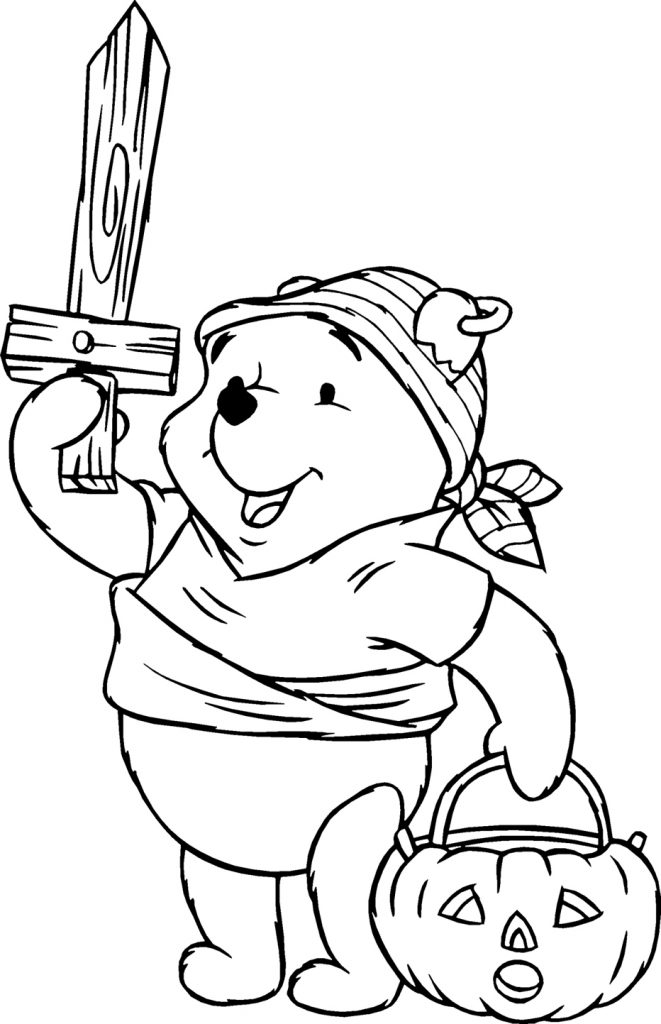 Pooh Bear Disney Halloween Coloring Pages
