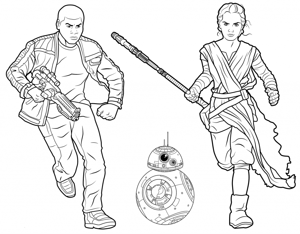 Rey Finn And BB8 Coloring Page