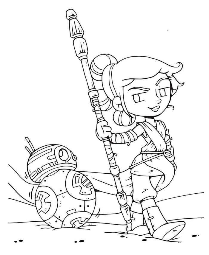 Rey And Bb8 Cartoon Coloring Page