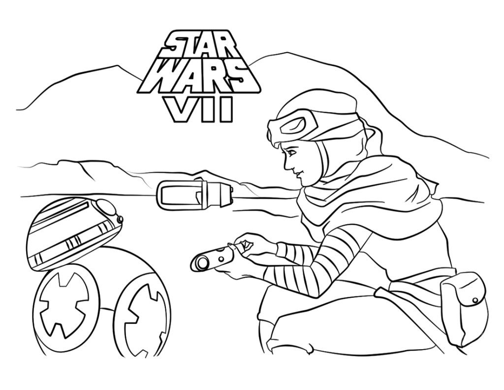 Rey And Bb8 Starwars Force Awakens Coloring Page