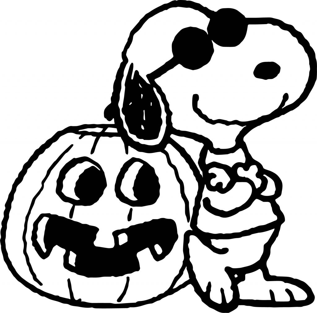 Snoopy And Halloween Pumpkin Coloring Page