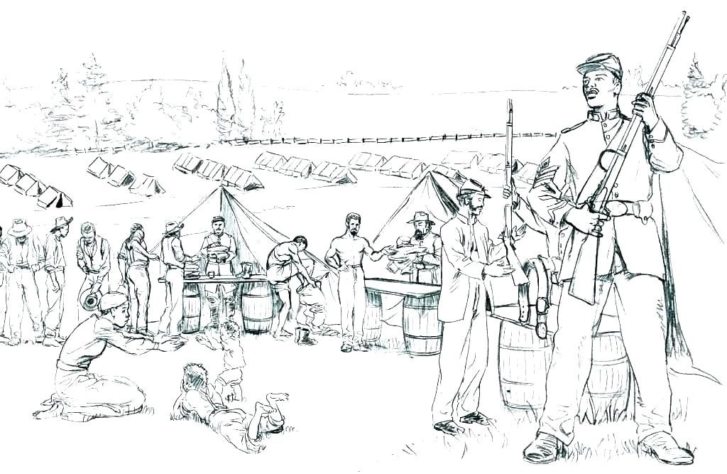 Soliers At Camp Civil War Coloring Pages