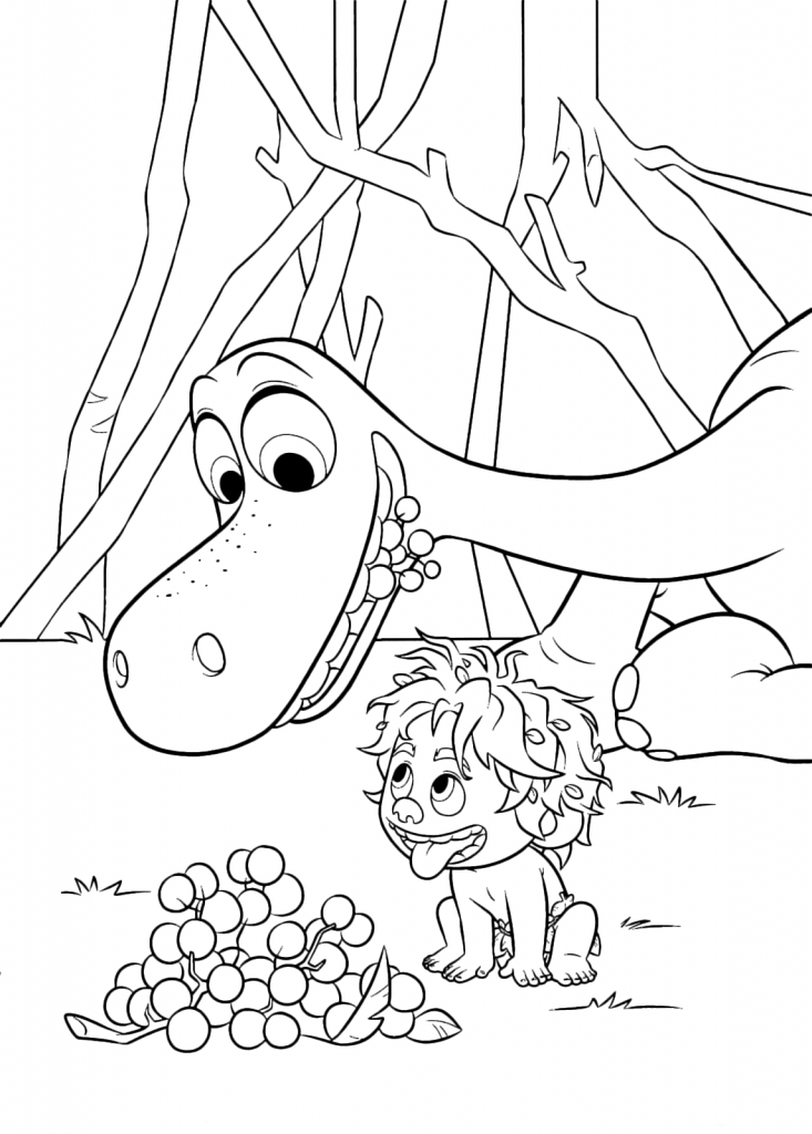 Spot And Arlo Eat Berries Good Dinosaur Coloring Pages