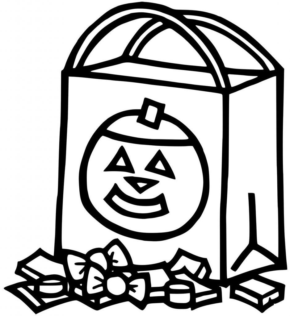 Trick Or Treat Bag Halloween Coloring Pages