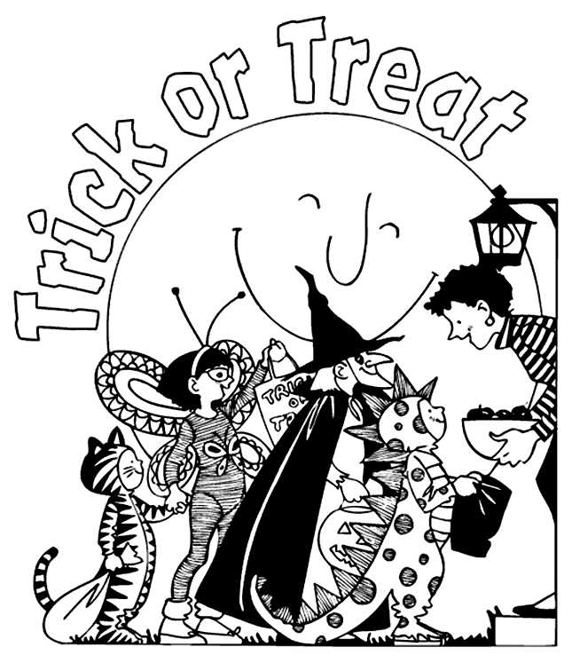 Trick Or Treat Fun Halloween Coloring Pages