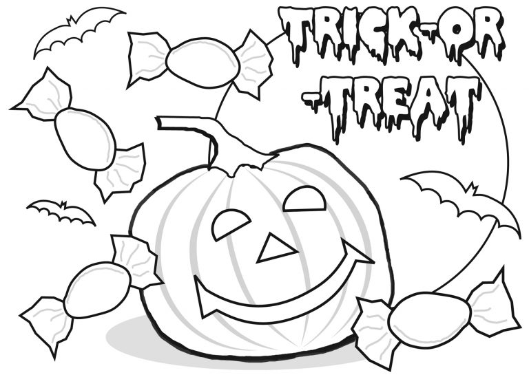 Trick Or Treat Happy Halloween Printable Coloring Pages