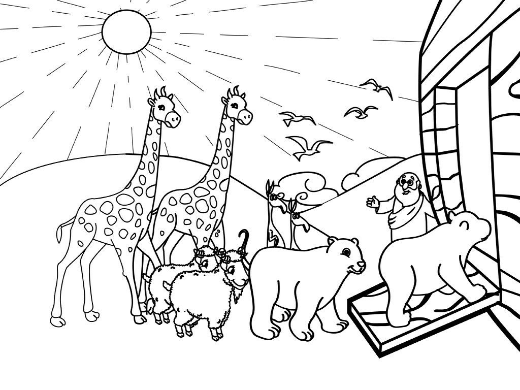 Animals Entering Noahs Ark Coloring Page