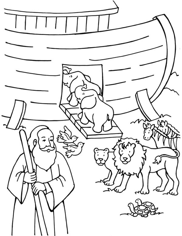 Animals Get On Noahs Ark Coloring Pages